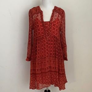 Anthropologie Maeve Boho Orange/Rust Dress